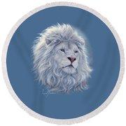 White Lion Round Beach Towel