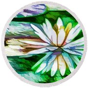 White Lotus In The Pond Round Beach Towel