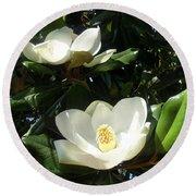 White Magnolia Flowers 01 Round Beach Towel