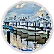 White Marlin Open Round Beach Towel