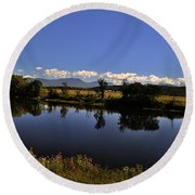 White Mountain Panorama Round Beach Towel