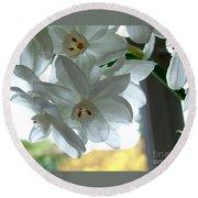 White Narcissi Spring Flower Round Beach Towel