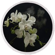 White Orchid And Reflection Round Beach Towel