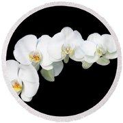 White Orchid Flower Round Beach Towel