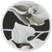 White Orchid Middle Section Round Beach Towel