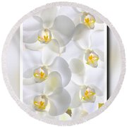 White Orchids Framed Round Beach Towel