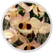 White Orchids With A Hint Of Pink Round Beach Towel