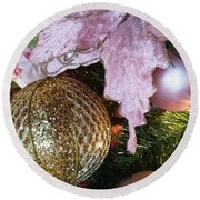 White Ornaments Holiday Card Round Beach Towel