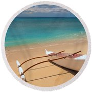 White Outrigger Canoe Round Beach Towel