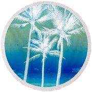 White Palms Round Beach Towel