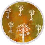 White Palms Gold Round Beach Towel