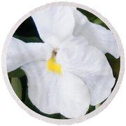 White Pansy Round Beach Towel