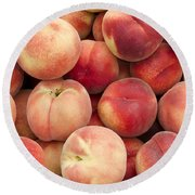 White Peaches Round Beach Towel