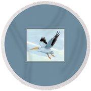 White Pelican 1 Roger Bansemer Round Beach Towel