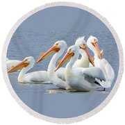 White Pelicans At Nelson Lake Round Beach Towel
