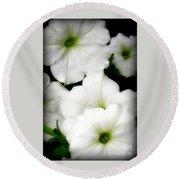 White Petunias 2 Round Beach Towel
