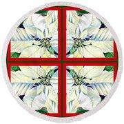 White Poinsettia Quartet Round Beach Towel