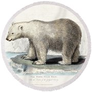White Polar Bear On Ice Floe Round Beach Towel