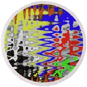 White Prickly Poppy Flower Color Abstract Round Beach Towel