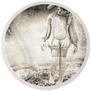 White Rabbit Round Beach Towel by Bob Orsillo