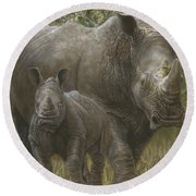 White Rhino Family - The Face That Only A Mother Could Love Round Beach Towel