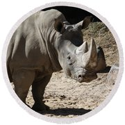 White Rhino Round Beach Towel