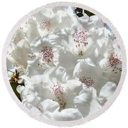 White Rhododendrons Flowers Art Prints Baslee Troutman Round Beach Towel