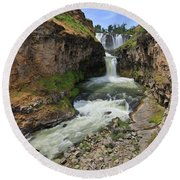 White River Falls C Round Beach Towel