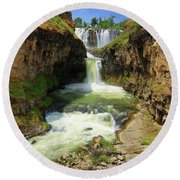 White River Falls D Round Beach Towel