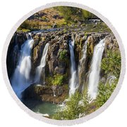 White River Falls In Tygh Valley Round Beach Towel