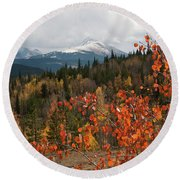 White River National Forest Autumn Panorama Round Beach Towel