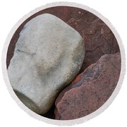 White Rock On Red Rock Number 1 Round Beach Towel