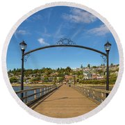 White Rock Pier In Bc Canada Round Beach Towel
