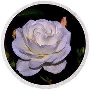 White Rose 006 Round Beach Towel