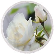 white Roses -2- Round Beach Towel