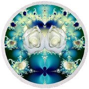 White Roses  And Blue Satin Bouquet Fractal Abstract Round Beach Towel