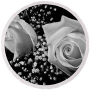 White Roses Bw Fine Art Photography Print Round Beach Towel