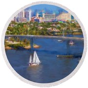 White Sailboat On The Water Round Beach Towel