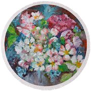 White Sakura - Floral Cherry Tree Blossom Oil Color Painting Round Beach Towel