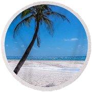 White Sand Beaches And Tropical Blue Skies Round Beach Towel