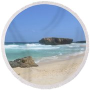 White Sand Beaches, Waves And A Rock Formation In Aruba Round Beach Towel