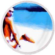 White Sand Round Beach Towel