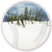 White Sand Green Grass Blue Sky Round Beach Towel