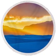 White Sands Sunset 2 Round Beach Towel