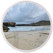 White Sandy Deserted Beach On The East Coast Of Aruba Round Beach Towel
