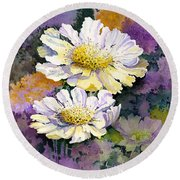 White Scabious Round Beach Towel