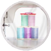 White Sewing Machine And Colorful Threads Round Beach Towel