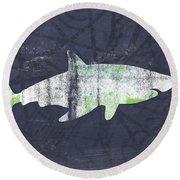 White Shark- Art By Linda Woods Round Beach Towel