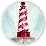 White Shoal Lighthouse Michigan Nautical Light House Red And White Candycane Stripes Round Beach Towel