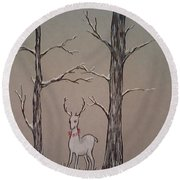 White Stag Round Beach Towel by Ginny Youngblood